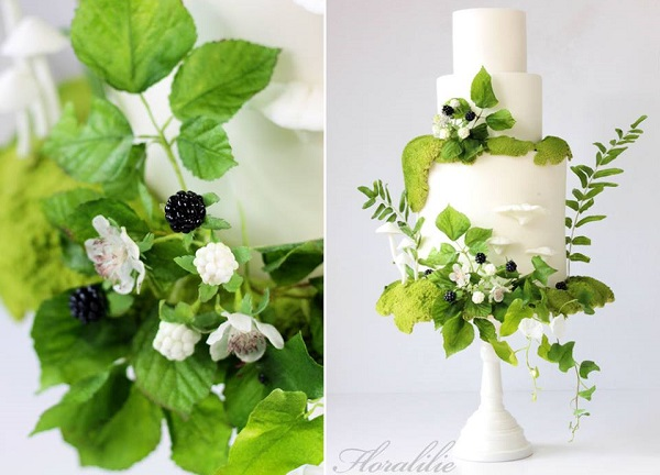 autumn berries wedding cake woodland style with edible moss by Floralilie