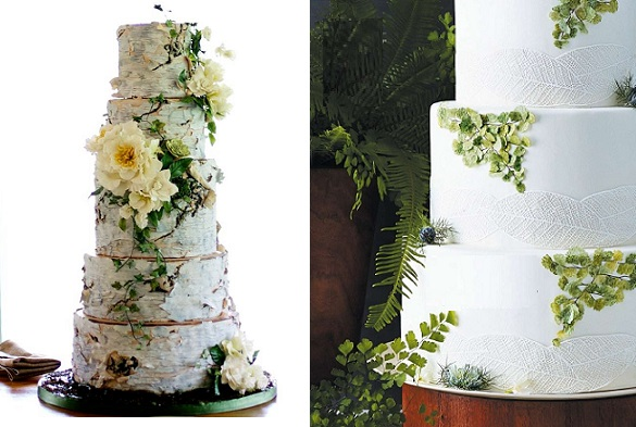 birch bark wedding cake by Madison Lee's Cakes Bear Ciere Phot left, woodland fern wedding cake by Erica O'Brien right