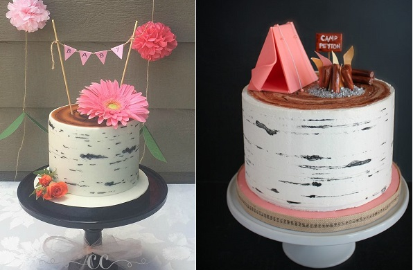 buttercream birch tree cake tutorial by Cassie's Confections