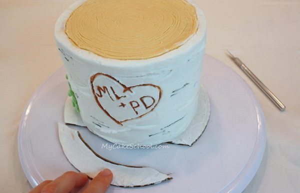 buttercream birch tree cake tutorial by My Cake School
