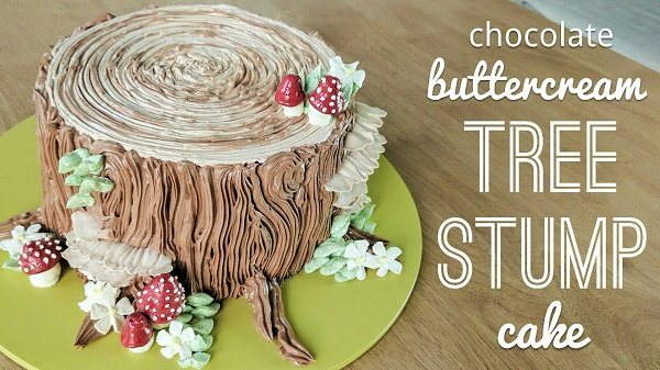 buttercream tree stump cake tutorial by Fancy Favours and Edible Art