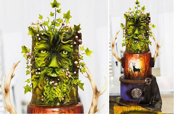 enchanted woodland wedding cake with deer and celtic motifs by Roses & Bows Cakery, Lotus Eyes Phot.