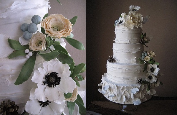 fall berries and pinecones wedding cake by Megan Joy Cakes