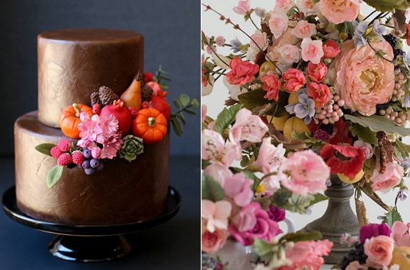 fall wedding cake by Erica O Brien left, Maggie Austin sugar flowers and berries right