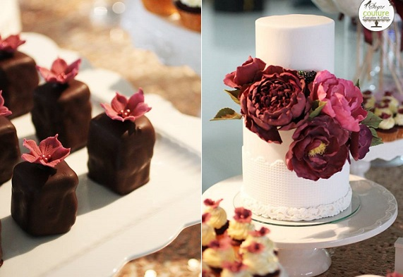 peonies and blackberries wedding cake by Sugar Couture Cupcakes and Cakes