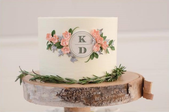 rustic woodland cake with monogram by Erica O Brien Cakes