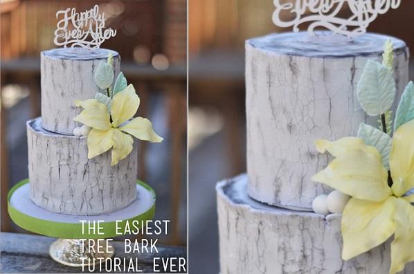 tree bark cake tutorial by Rebekah Naomi Cake Design