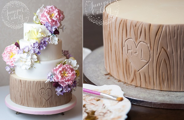 tree bark cake tutorial by The Juniper Cakery