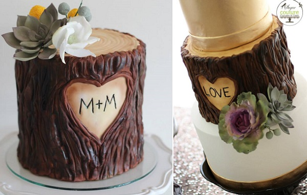 tree bark wedding cakes by Sugar Couture Cupcakes