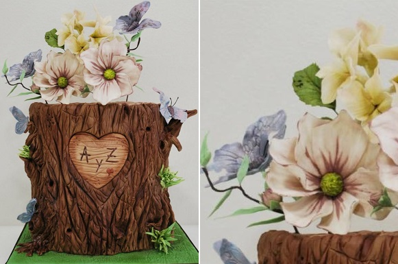 wood stump wedding cake with sugar flowers by Ponona Cakes