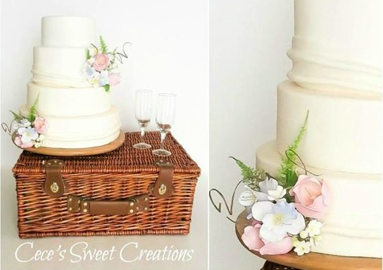 woodland wedding cake with fern by CeCe's Sweet Creations