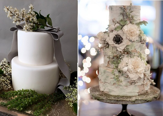 woodland wedding cakes by Sainte G Cake Company left, Madison Lee's Cakes right