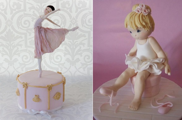 Ballerina cake toppers by The Lemon Grove Cake Co. left, Debbie Brown Cakes right