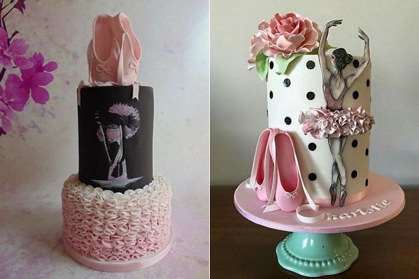 Ballerina cakes for teenagers by For The Love of Cake left, Little Lady Baker right