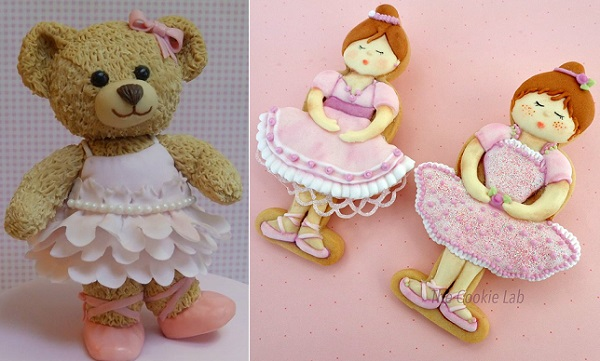 Ballerina teddy cake topper by Cakes by Rachel Clare, ballerina cookies by The Cookie Lab