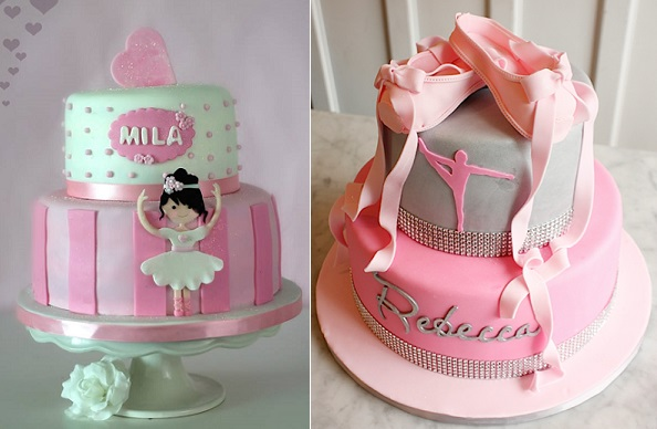Ballet cakes by Make Me My Cake left, Lulu Cakes right
