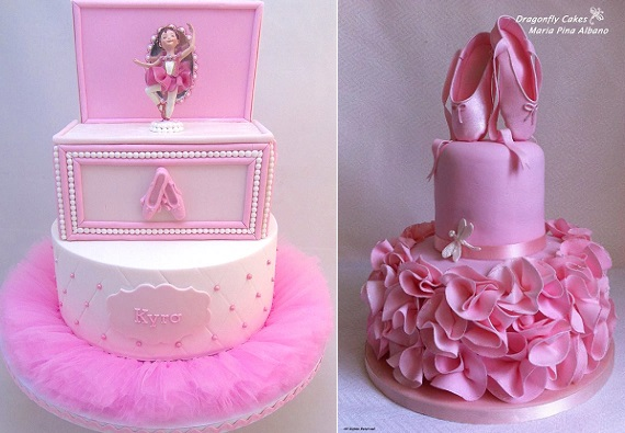 Ballet cakes by Sweet Surprise Cakes left, Dragonfly Cakes right