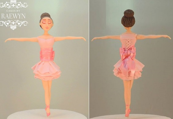 Ballet dancer cake topper gumpaste model by Cakes by Raewyn