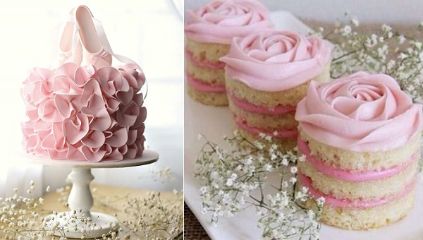 Ballet shoes cake topper ruffle cake via Mum's Grape Vine AU left, rosette mini cakes via My Tartelette