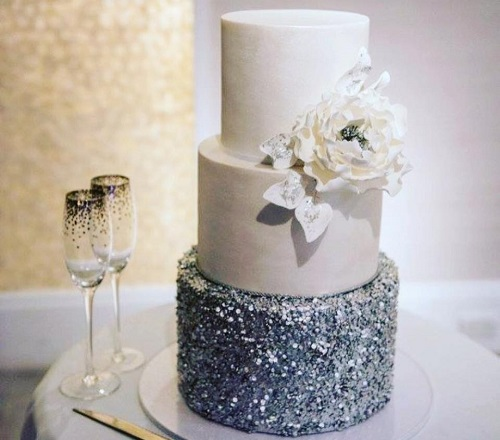 Edible sliver sequins winter wedding cake by Cakes 2 Cupcakes