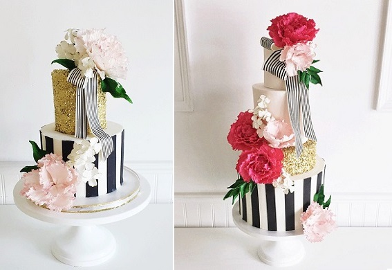 Kate Spade inspired wedding cakes from Jenna Rae Cakes