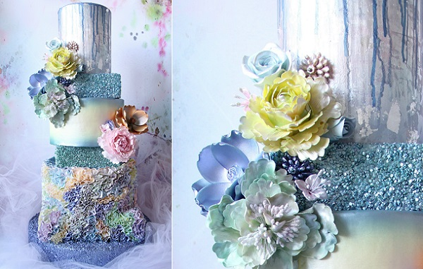 Silver sequins and pastel rainbow ruffles from CAKE by Jen Riley