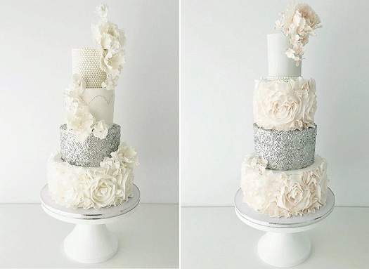 Silver sequins, ruffles, pearls and sugar flower glamor wedding cakes from Jenna Rae Cakes
