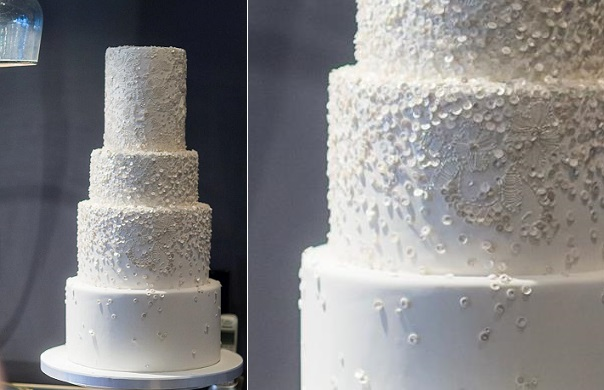Winter white sequins wedding cake with intricate detailing from Madison Lee's Cakes