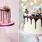 Chocolate drip christmas cake by Marianne Stewart via Cakes and Sugarcraft left, Peggy Porschen right