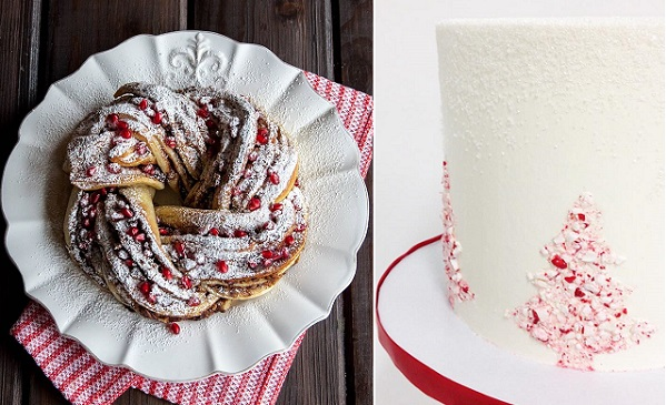 Chocolate pomegranate bread twist by Style Sweet left, crushed candy cane christmas cake by Sweet and Saucy
