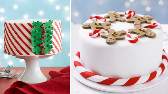 Christmas cake decorating ideas via Woman's Way left, BBC Good Food right