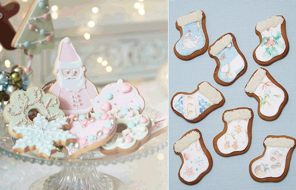 Christmas cookies by Peggy Porschen left and Natasha Collins right via Cakes and Sugarcraft
