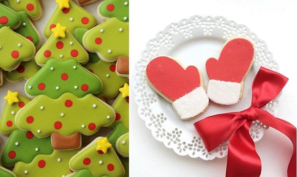 Christmas tree cookie tutorial by Sugarbelle, chistmas mitts cookies by Erica O'Brien right