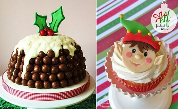 Malteser christmas pudding by Two Little Cats Bakery, elf cupcake tutorial by Lynlee North Beckett