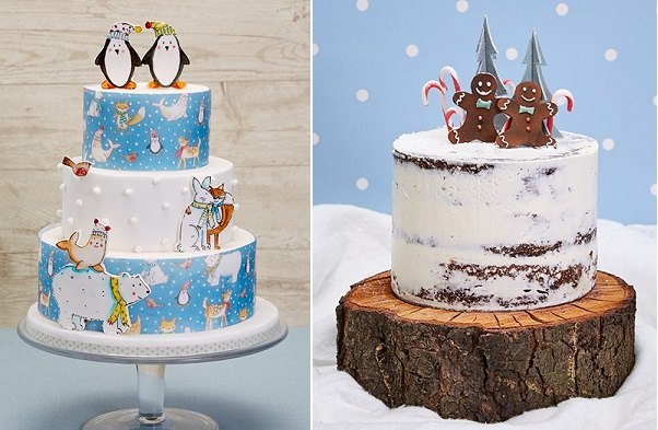 Novelty christmas cakes by Natasha Collins left and Mark Tilling right via Cakes and Sugarcraft