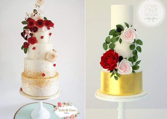 Red and gold wedding cakes by Cobi and Coco Cakes left, Cove Cake Design right