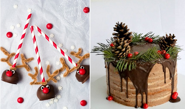 Rudolph reindeer cake pops tutorial from Juniper Cakery left, rustic chocolate christmas cake by Tortasticarnica right