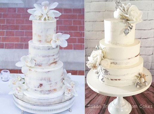 Semi naked winter wedding cakes by Abigail Bloom Cake Co left, Susan Trianos Custom Cakes right