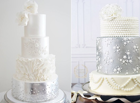 Winter wedding cakes by Cakes 2 Cupcakes left, Juniper Cakery right