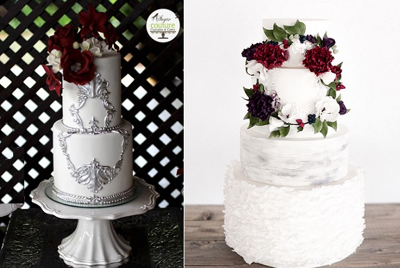 Winter wedding cakes by Sugar Couture Cupcakes and Cakes left, Laugh Love Cakes right