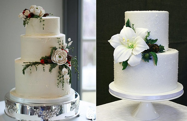 Winter wedding cakes by The Cocoa Cakery left, Sannas Tartor right