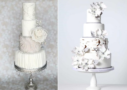 Winter wedding cakes by The Vagabond Baker left, Chrissie Boon Cakes right
