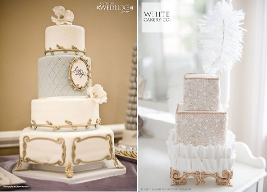 Edible cake stand in antique gold by Sweet Celebrations left, White Cakery right with Krista Fox Photography