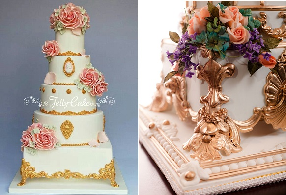 Edible cake stands in baroque style by Jelly Cake left, Bob Johnson right at The America's Cake Fair