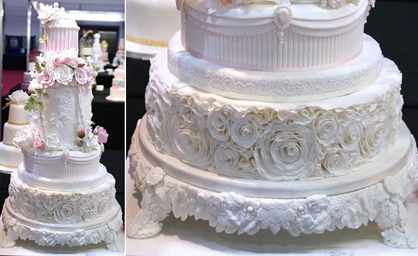 Edible gumpaste cake stand in white by Samantha Boon