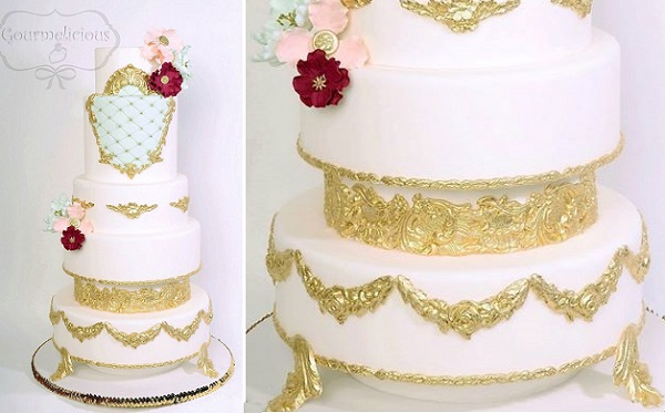 Gumpaste cake stand in antique gold by Gourmelicious