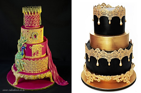 Gumpaste cake stands and asian inspired wedding cakes by Prachi Dhabal Deb left, The Cake Decorating Company right