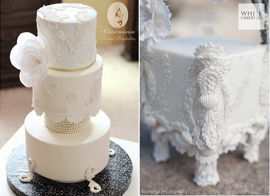 White gumpaste cake stand by Chocovania left, The White Cakery (Krista Fox Photography) right