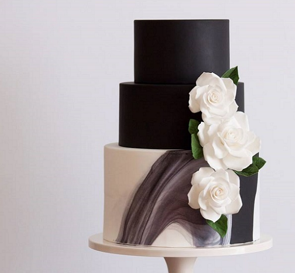 Charcoal marble wedding cake by Miso Bakes