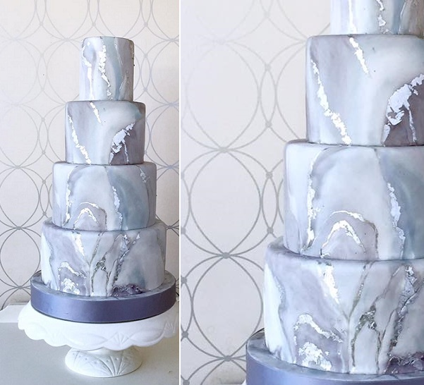 Grey marble wedding cake with seams of silver running throughout by Bobbette and Belle